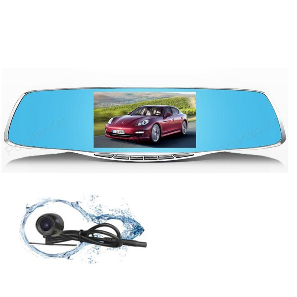 full hd1080p 4.3 inch night vision car camera rearview mirror cars dvr dual lens dash cam recorder video registrator camcorder