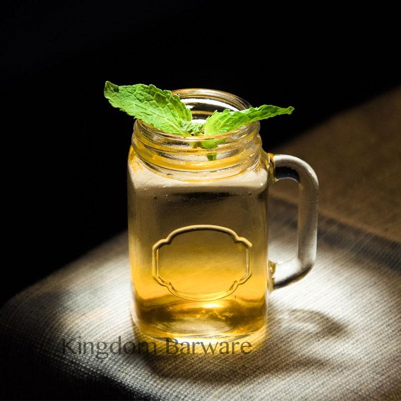 4 шт Мини банка чашка Мейсона стеклянный рюмка набор со стеклянными ручками, стакан для виски es/чашки