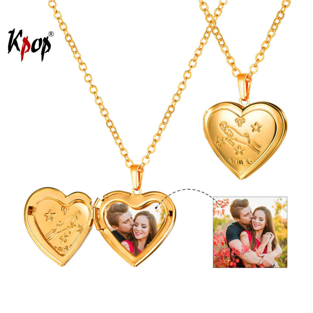 Kpop Unisex Jewelry Gold Color 12 Zodiac Constellation Signs Heart Shaped Photo Locket Pendent Necklace for Women Men P3207