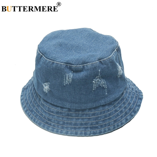 fb5a62797db BUTTERMERE Fisherman Hat Men Denim Female Summer Spring Casual Fashionable  Bucket Hats Foldable Korean Ripped Hip Hop Bucket Hat