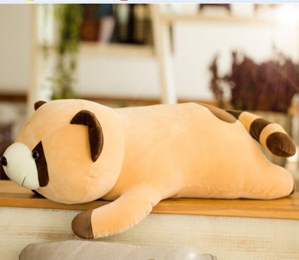 Moyen belle peluche raton laveur jouet en peluche couché raton laveur poupée cadeau jouet environ 70 cm
