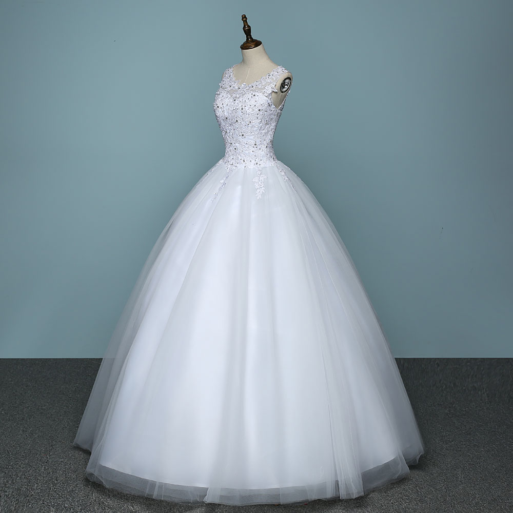 Pure White Ball Gown Real Images Lace Tulle Wedding Dress 2018 ...