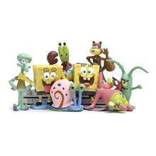 6/8pcs Resin Spongebob Aquarium Decoration Spongebob Series Figures Squidward Tentacles, Patrick Star, Krabs Garden Statue