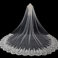 High quality 2019 Real Photos applique Beading 3.5M Long Bridal Soft Tulle Lace edge Cathedral Wedding Veil New Bridal Veil