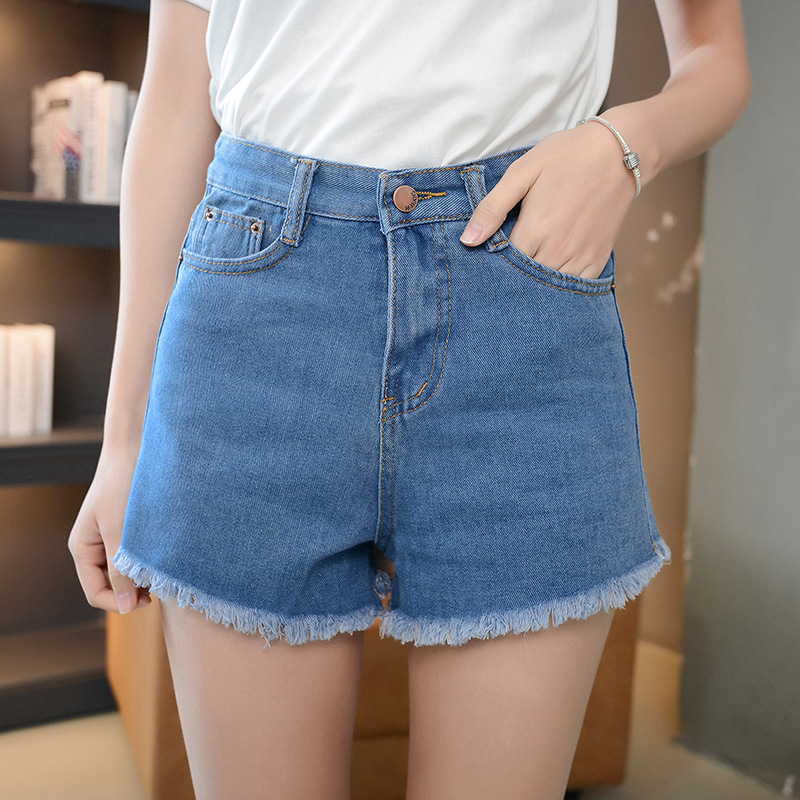 2017 High Quality Fashion Women Clothing Blue Shorts High Waist Loose Casual Straight Denim Shorts Female Cut-offs Thin Jeans