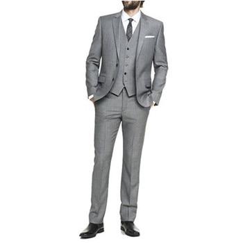 Custom Made New Slim Fit Best Man Peak Grey Lapel Groomsmen Men Wedding Suits Bridegroom Groom Tuxedos(Jacket+Pants+Vest) G511