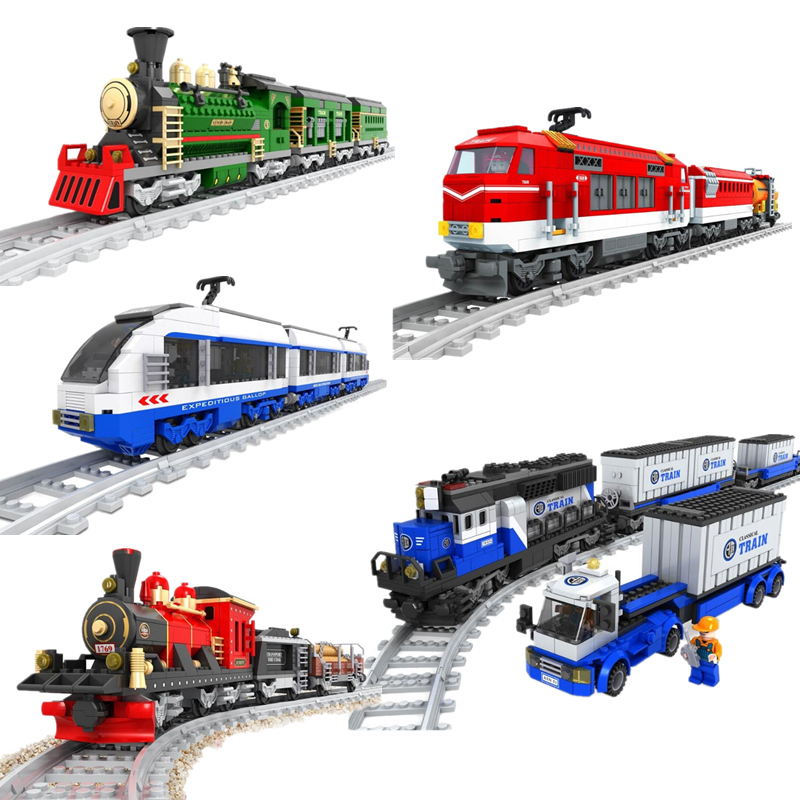 Hot New Train Rails Trafic Set Blocks Educational Model Building Toys Brick Children Compatible With Legoinglys Model & Building new building blocks ninja emmet wyldstyle sheriff gordon zola bad cop robo swat brick toys for children l009 016