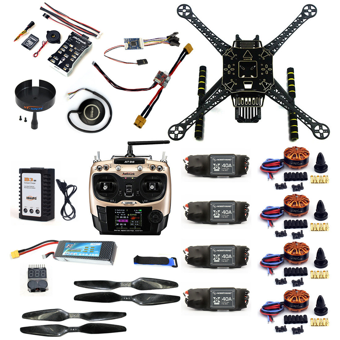 F19457-C DIY RC Drone Full Kit S600 Frame PIX 2.4.8 Flight Control 40A ESC 700KV Motor AT9S TX with Battery Charger XT60 Plug zd850 full carbon fiber 850mm hexa rotor frame pix pixhawk 2 4 8 flight comtrol 5010 360kv motor 40a brushless opto esc set