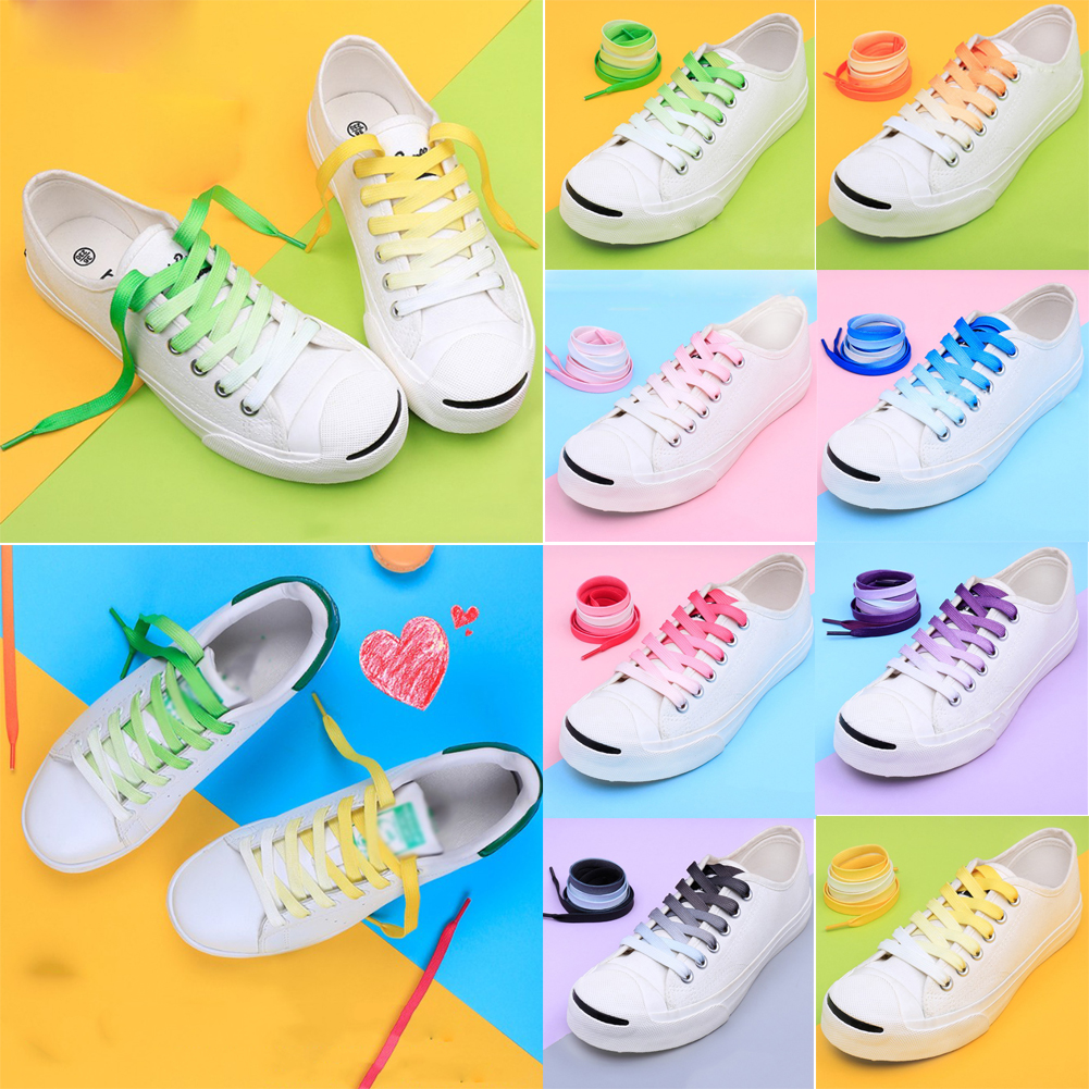 1 Pair  New Fashion Cute Shoe Laces Gradient Personality Flat Sneakers Shoelaces High Quality Black Green Canvas Shoes Lace