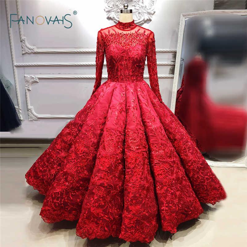 Red Wedding Dresses 2019 Long Sleeve Satin Princess Ball Gown