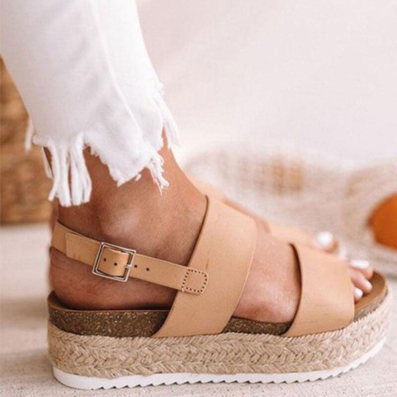 MCCKLE Women Sandals Summer Buckle Strap Gladiator Open Toe Sandals Hemp Platform Shoes Female Casual Ladies Sandals Plus Size