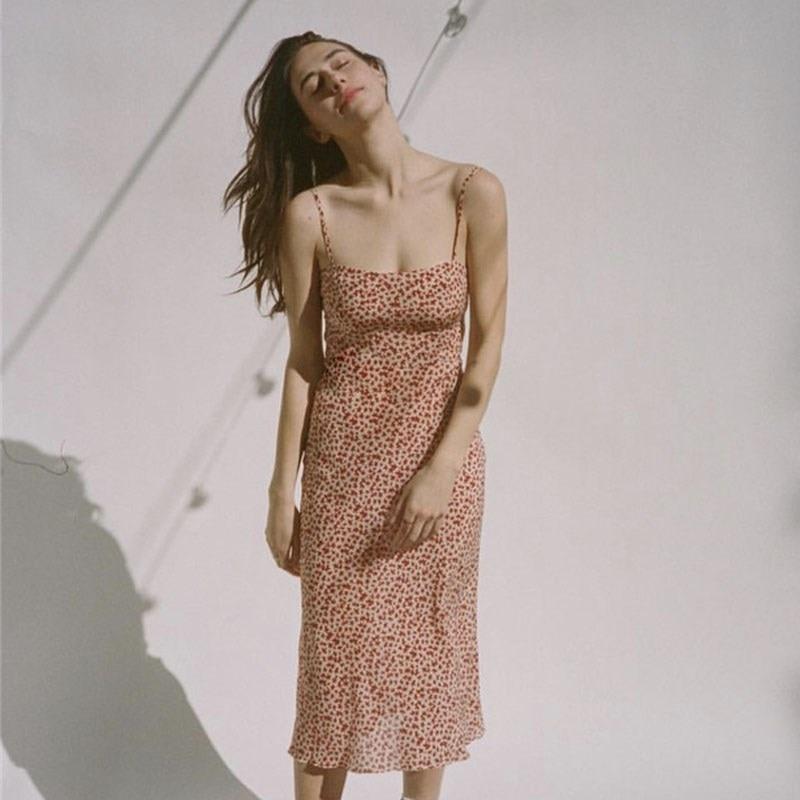 Women Amelia Dress Small Floral Silk spaghetti straps Slim fit midi dress Fitted corset style top