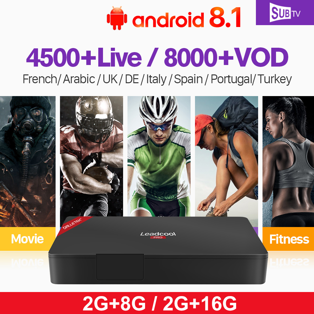IPTV French Receiver Box Leadcool Pro Android 8.1 RK3229 4K 2.4GHz WiFi SUBTV 1 Year Italia Full HD Live IP TV France Arabic цена