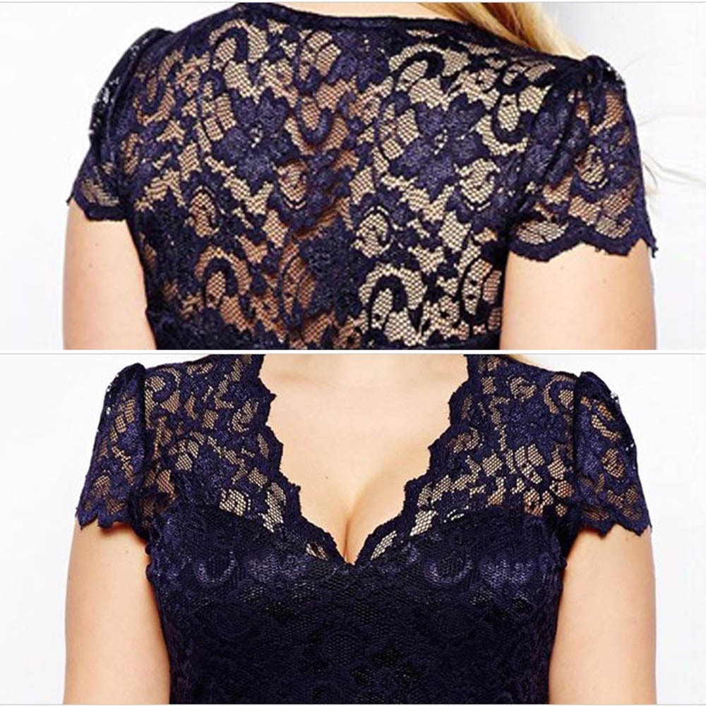 Plus Size Short Lace Dress With Sleeves