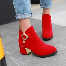 2016 Fashion New British Style Black Red Suede Pointed Toe Women s Leisure Shoes Online Boots