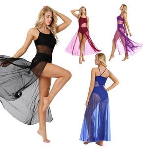 Image 2 - IEFiEL Женская одежда для взрослых на тонких бретельках, сетчатая макси Одежда для танцев со встроенной гимнастикой трико балерины, платья для бальных танцев