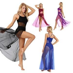Image 2 - iEFiEL Womens Adult Spaghetti Strap Mesh Maxi Dancewear with Built In Gymnastics Leotard Ballerina Ballroom Dance Class Dresses