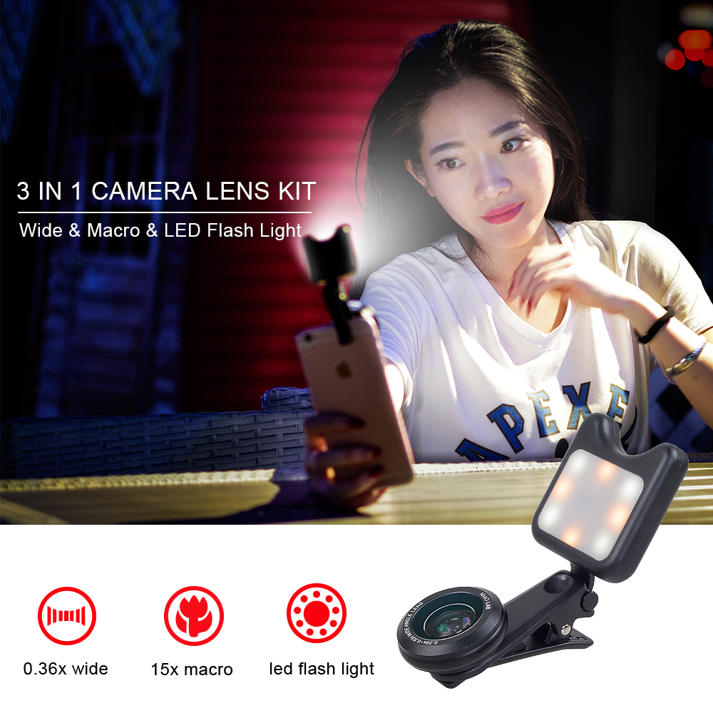 APEXEL 3in1 Phone camera lenses Selfie Lentes wide macro lens Led Fill light Lens For iPhone 7 8 X For Samsung S7 S8 Smartphone