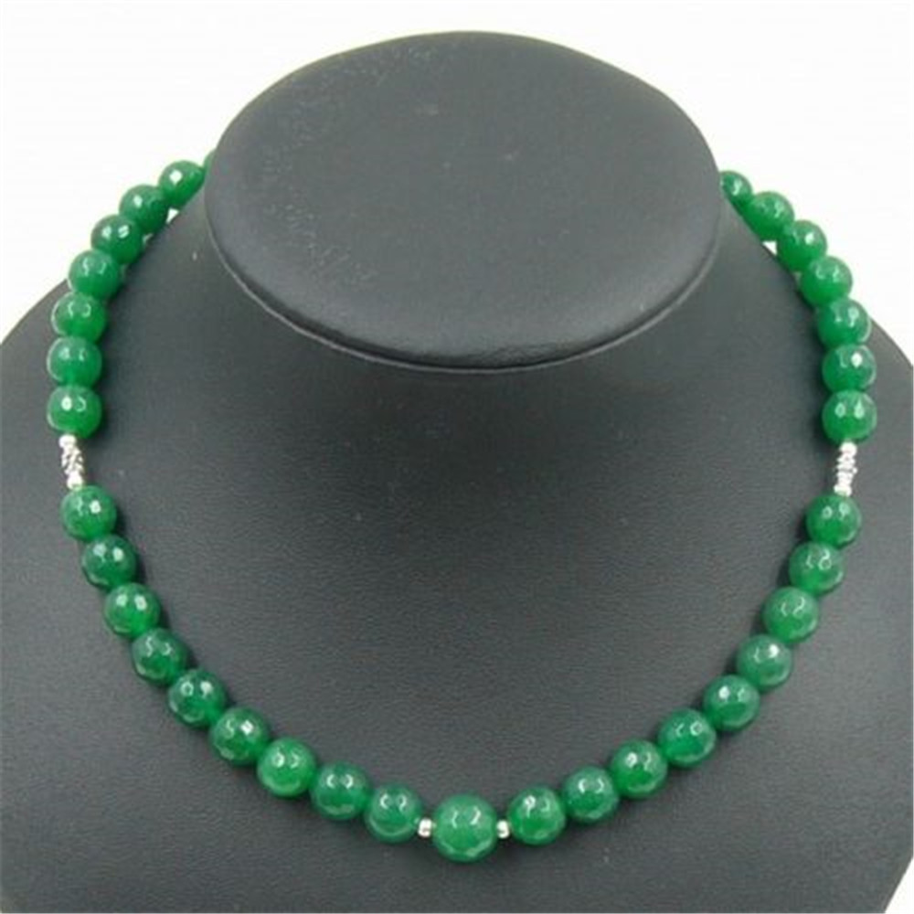 Vintage Classic Natural Stone Jewelry Elegant Noble Handcrafted Emeralds Stones Beaded Chain Choker Necklace 44cm