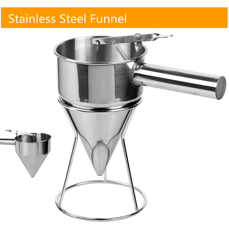 Stainless Steel Octopus Balls Egg Cone Funnel Waffle Maker Tool With Rack Sugar Syrup Dispenser For Cake egg liquid batter dispenser waffle hopper takoyaki ice pop making tool distributor full stainless steel