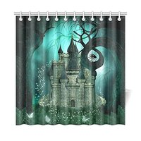 Magical Background With A Fantasy Castle And Creep Bathroom Shower Curtain Accessories 72W X 72L Inches