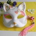 Половина ручная роспись японский лиса маска кицунэ косплей маскарад розовый цветочным узором для ну вечеринку хэллоуин