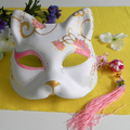 Half Face Hand-Painted Japanese Fox Mask Kitsune Cosplay Masquerade Pink Flower Pattern for Party Halloween