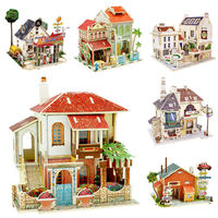 Handcraft Kit Model Wooden Dollhouse Diy Assemble Miniature Doll House With Furniture And LED Light Birthday
