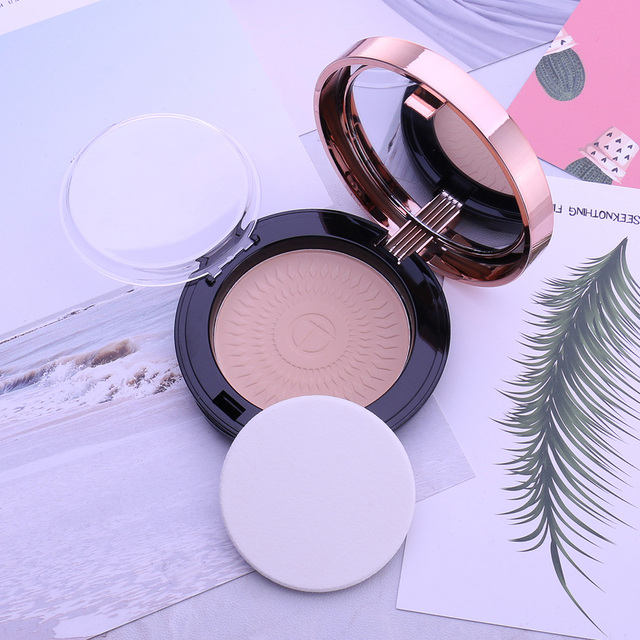 O.TWO.O Natural Face Powder Mineral Foundations Oil-control Brighten Concealer Whitening Make Up Pressed Powder With Puff 5