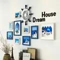 11 unids/set marcos de Fotos decoración de pared europea de madera maciza mediterranea foto pared sala de estar pared combinación creativa