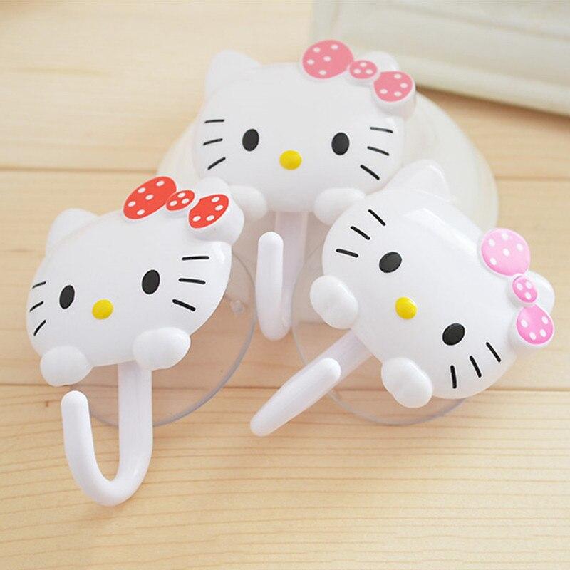 Inteligente 2 Unids/set Lindos Ganchos De Plástico Hello Kitty Ventosas De Pared Colgador De Cocina Taza De Succión De Baño Herramientas De Cocina A