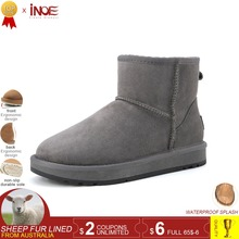 INOE sheepskin suede leather sheep wool fur lined men short winter basic snow boots for men ankle winter shoes black grey brown