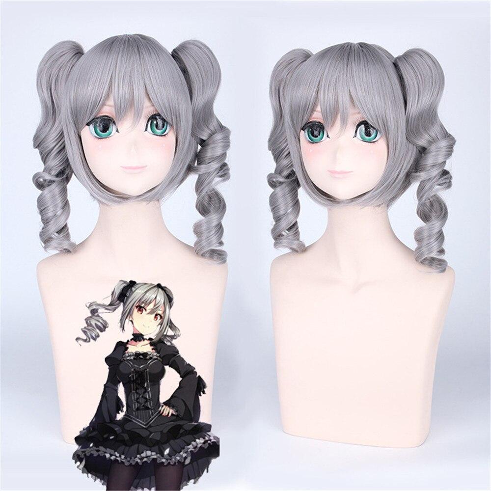 Idolmaster Cinderella Girls Ranko Kanzaki 40cm Medium Long Grey Cosplay Wig for Women Anime Costume Party with Two Wavy Ponytai