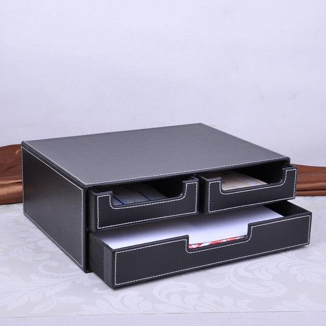 Doppelschicht Büro 3 Schublade Leder Schreibtisch Aktenschrank