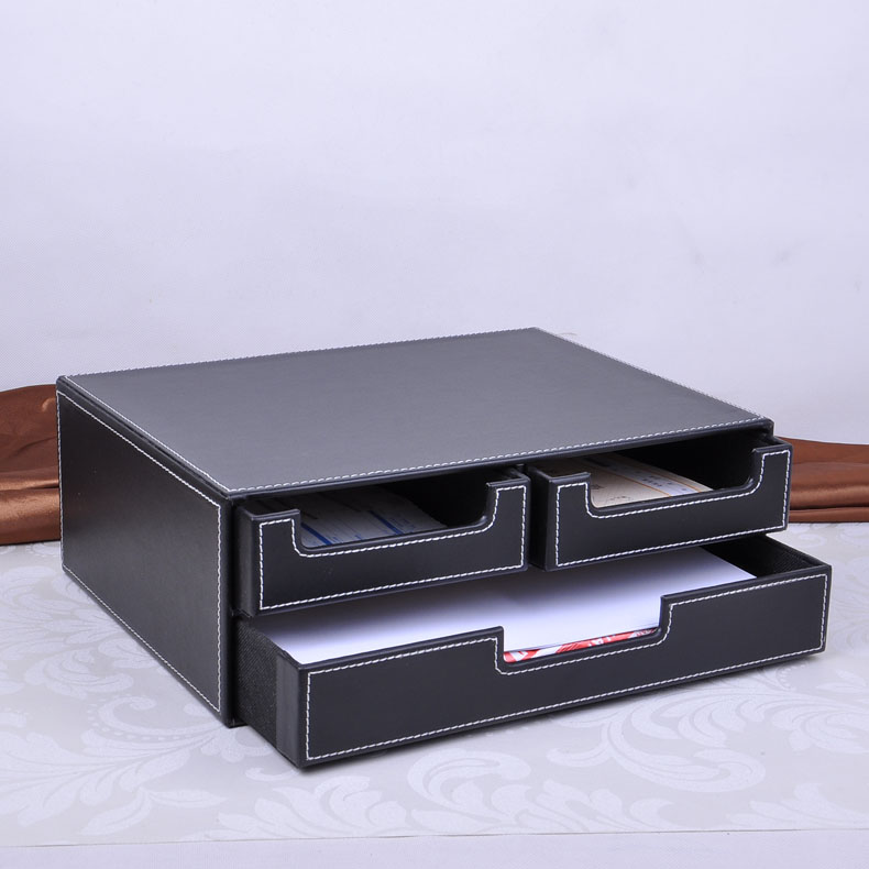 double layer office 3 drawer leather desk file cabinet stationery box container organizer document tray drawer desk set 218A