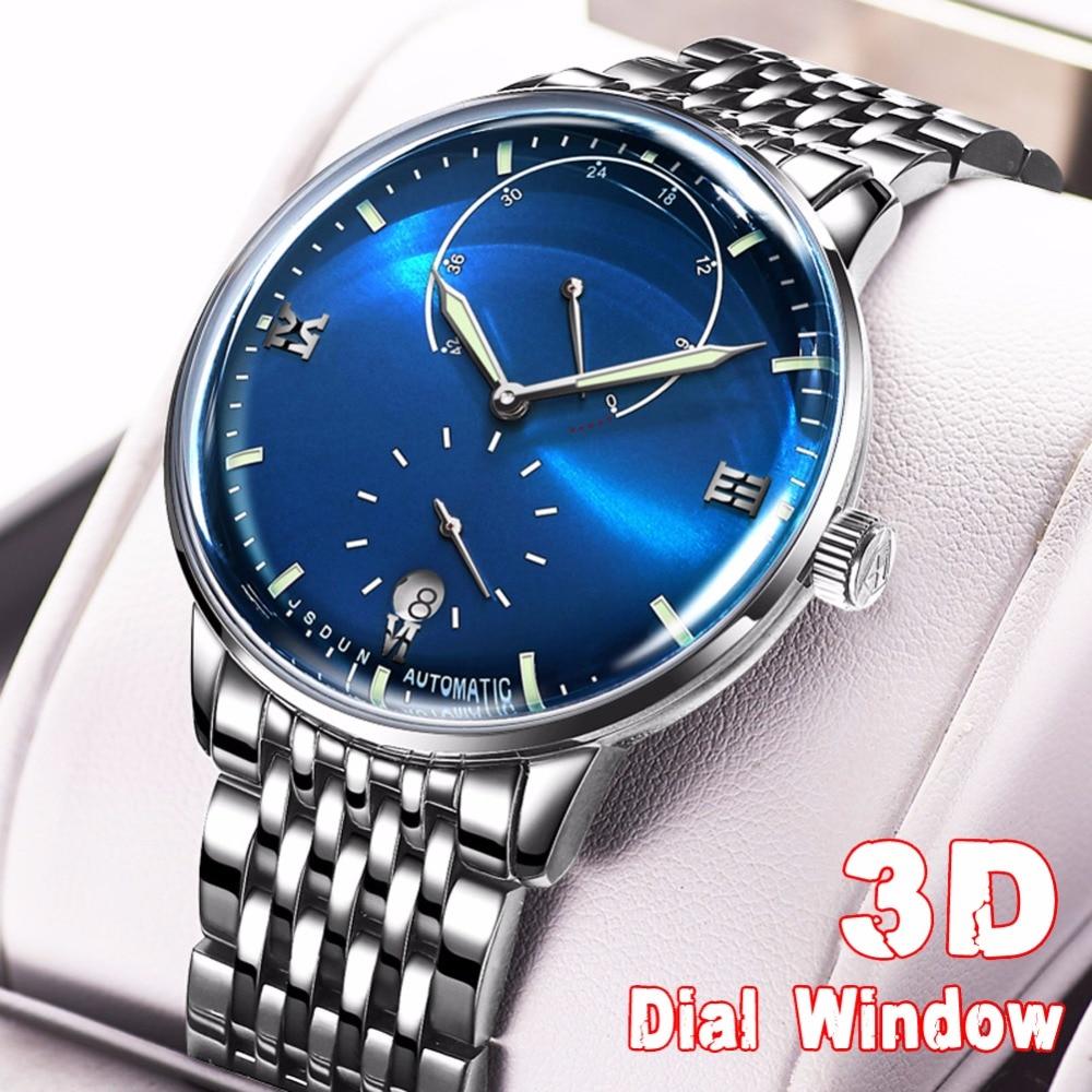 JSDUN Mens watches top brand luxury Automatic watch men Waterproof 3D Sapphire Mirror Fashion Mechanical Watch