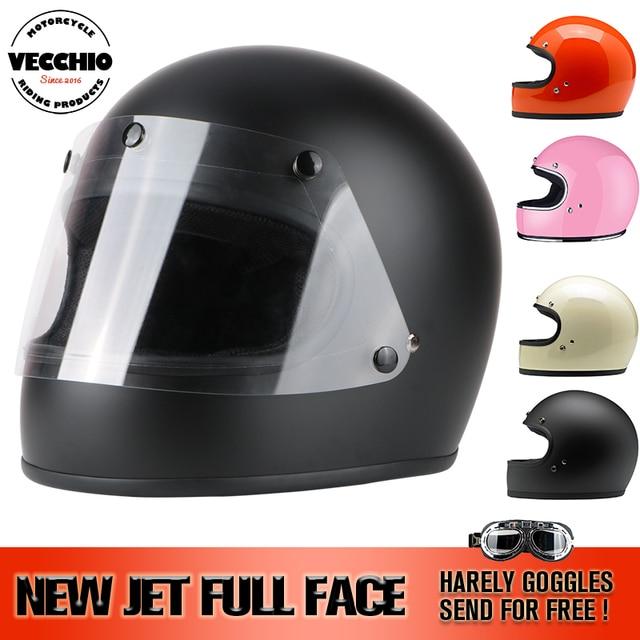 De fibra de vidrio de cara completa Casco vintage JET Casco de la motocicleta de carreras de Motocross moto Casco Capacete Retro Casco DOT ECE A1