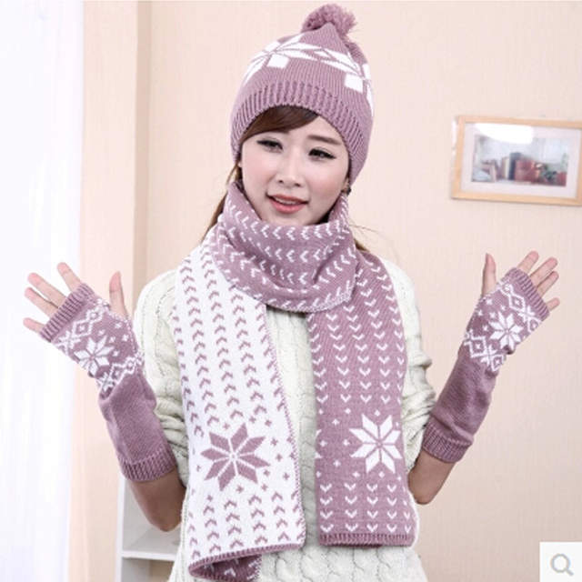 CIVICHIC Girl Christmas Gift Knit Hat Scarf Gloves 3 Pieces Set Lady  Thicken Shawl Warm Jacquard 062aeaa19742
