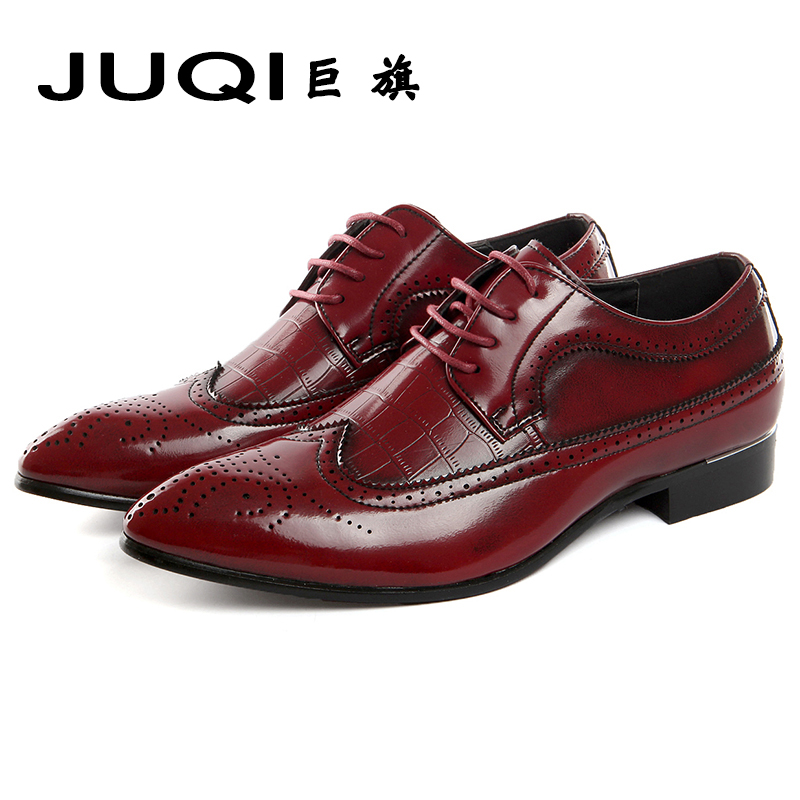 Leather Bullock men Retro Shoes 2017 Lace-up men Shoes Plus Size Business Formal Brogue Pointed Toe Carved Vintage Wedding Dress skp151custom made goodyear 100% genuine leather handmade brogue shoes men s handcraft dress formal shoes large plus size