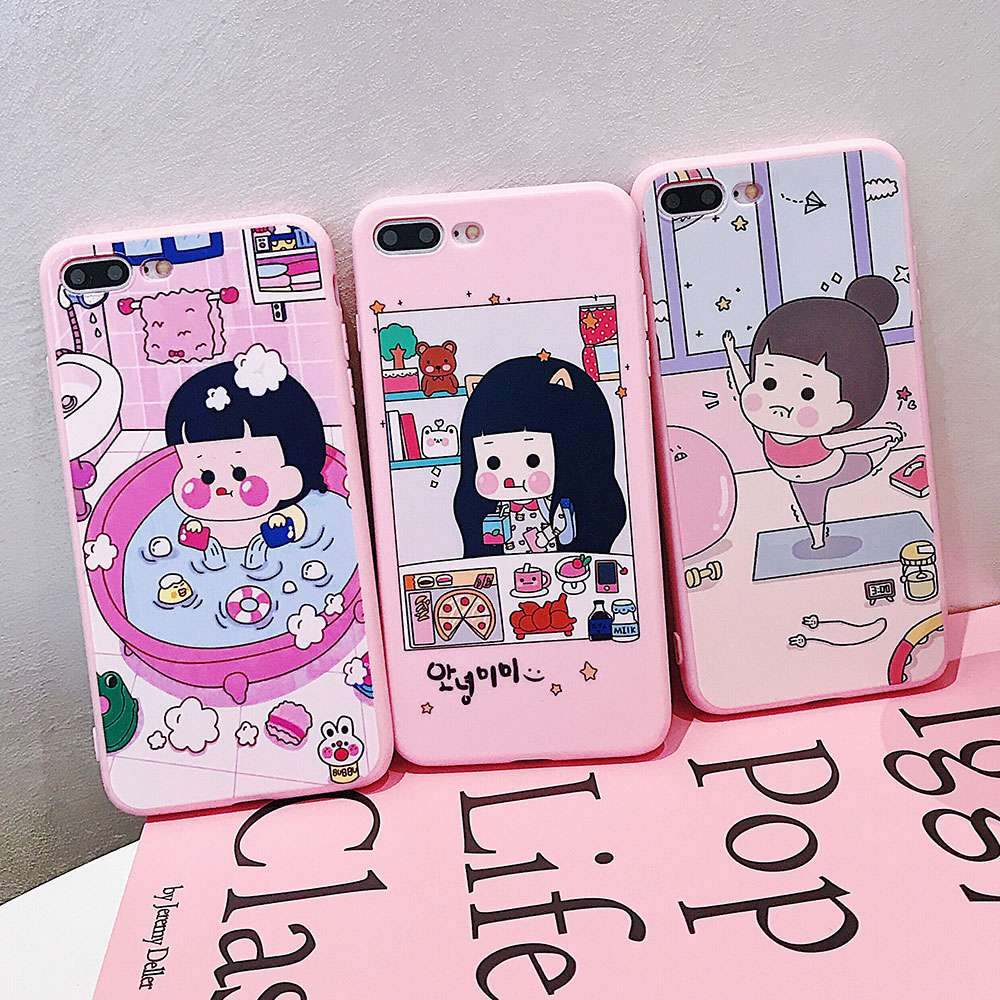 VR VAVA Silicone TPU Soft Phone Case For iPhone 7 8 Plus X XS XR Xs Max Cases Bathing Girl Cover For iPhone 6s Plus Fashion Case in Fitted Cases from Cellphones Telecommunications