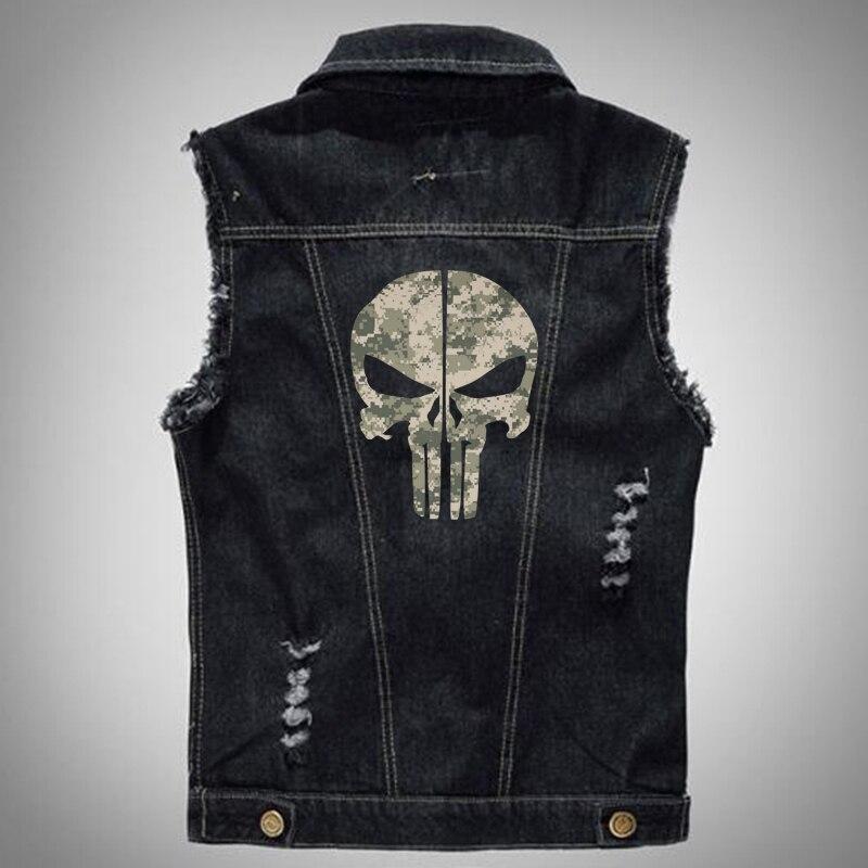 Camou numérique Vintage Motif Le Punisher Mâle veste en jean Hommes Manches veste jeans grande taille 5XL 6XL