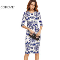 COLROVE Blue And White Porcelain Print Slim Pencil Dress Office Ladies Work Wear Round Neck 3