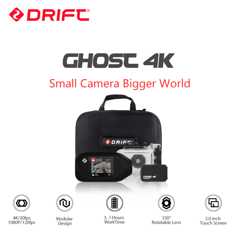 Drift Ghost 4K Motorcycle Version Action Camera Ambarella A9SE go Sports Mini pro Camera 12MP CMOS EIS Touch Screen with WiFi drift ghost 4k action camera black