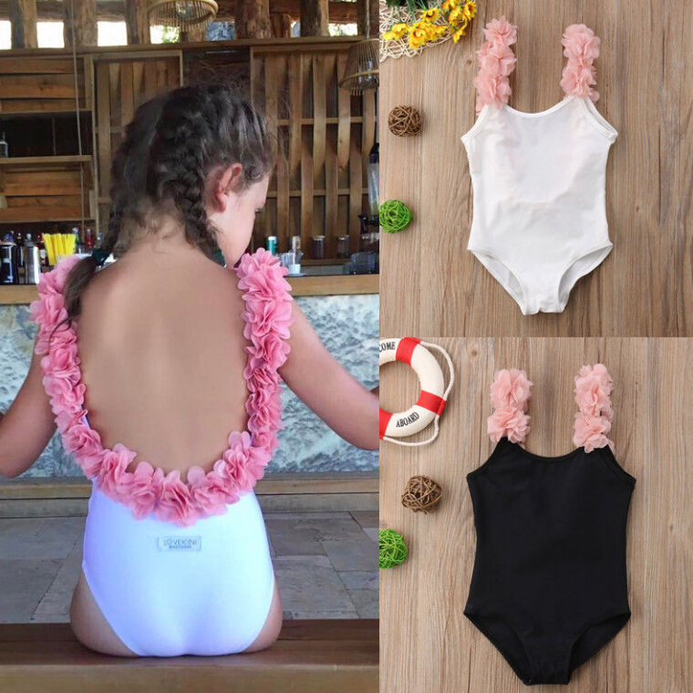 EntrüCkung Prinzessin Kinder Baby Mädchen Blume Schulter Strap Backless Bademode Badeanzug Bikini Schwarz Weiß Badeanzug Bademode Sommer Kinder Einteiler