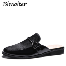 Bimolter Women Sandals 2019 Cow Leather Horse Hair Low Heels Gladiator Sandalias Metal Shoes Woman Slippers Retro NC022