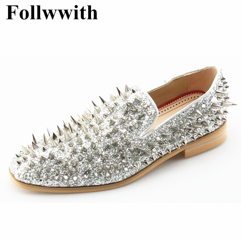 2018 Hot Sales Top Quality Irregular Sliver Rivets Shiny Leather Men Loafers Slip On Flats Casual Shoes Party Wedding Shoes Men hot sale mens italian style flat shoes genuine leather handmade men casual flats top quality oxford shoes men leather shoes