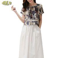 2 Pcs Summer Women Dress Short Sleeves O Neck Elastic Waist Mid Calf Length Print Women