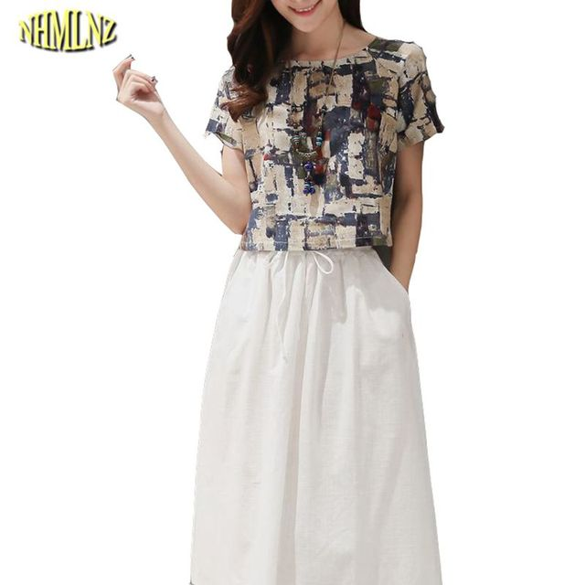 d918072683 2 pcs Summer Women dress Short sleeves O-neck Elastic Waist Mid-Calf Length  Print Women Dress Sets Loose Style Size Plus OK487