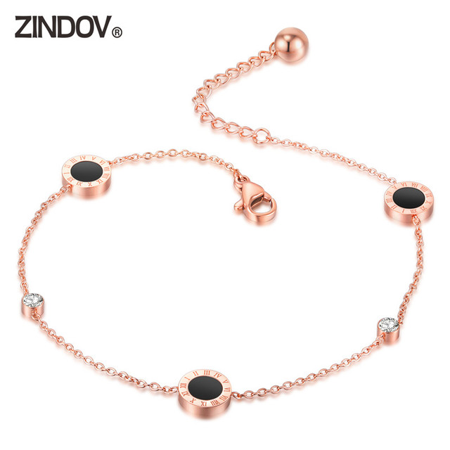 ZINDOV Station Food Jewelry Anklet Stainless Steel Leg Bracelet Rose Gold and Silver Colors Not Fade Beach Bracelets For Women