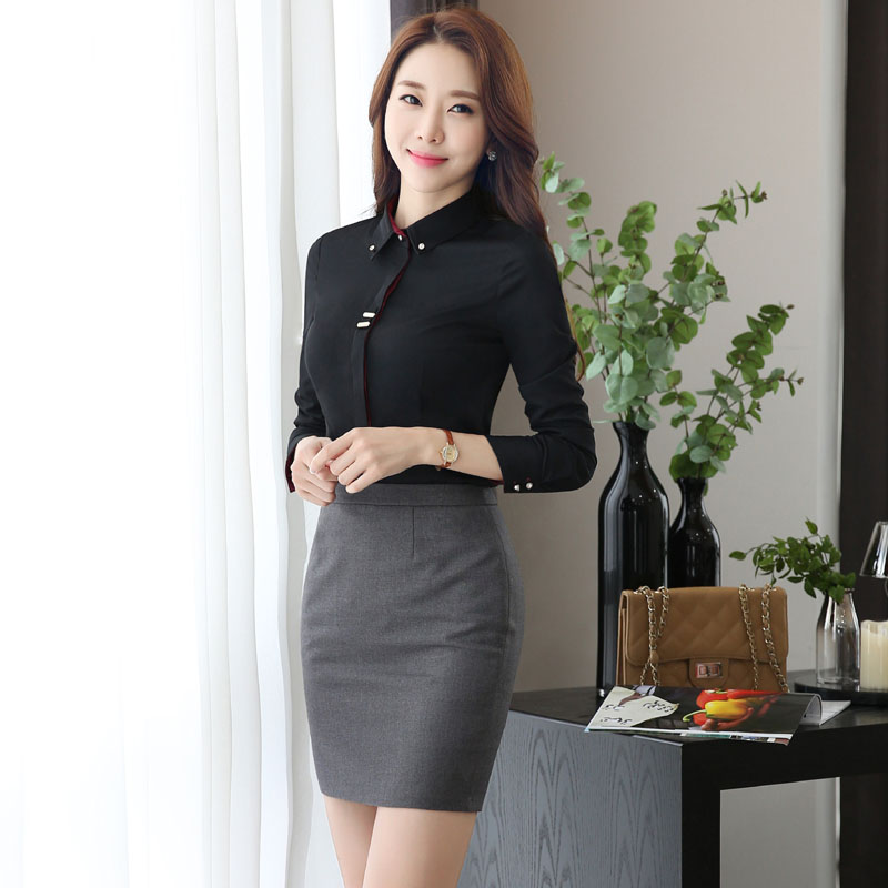 e364235044c Formal Black Slim Fashion Skirt Suits With Blouse And Mini Skirt ...